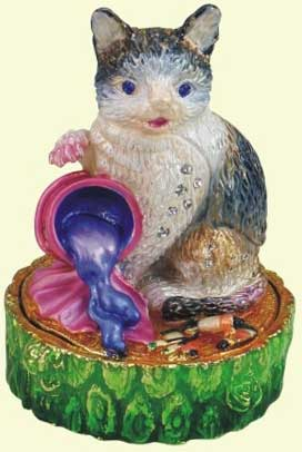 шкатулка ювелирная «Кот» ornament box «Cat». Double Win Co